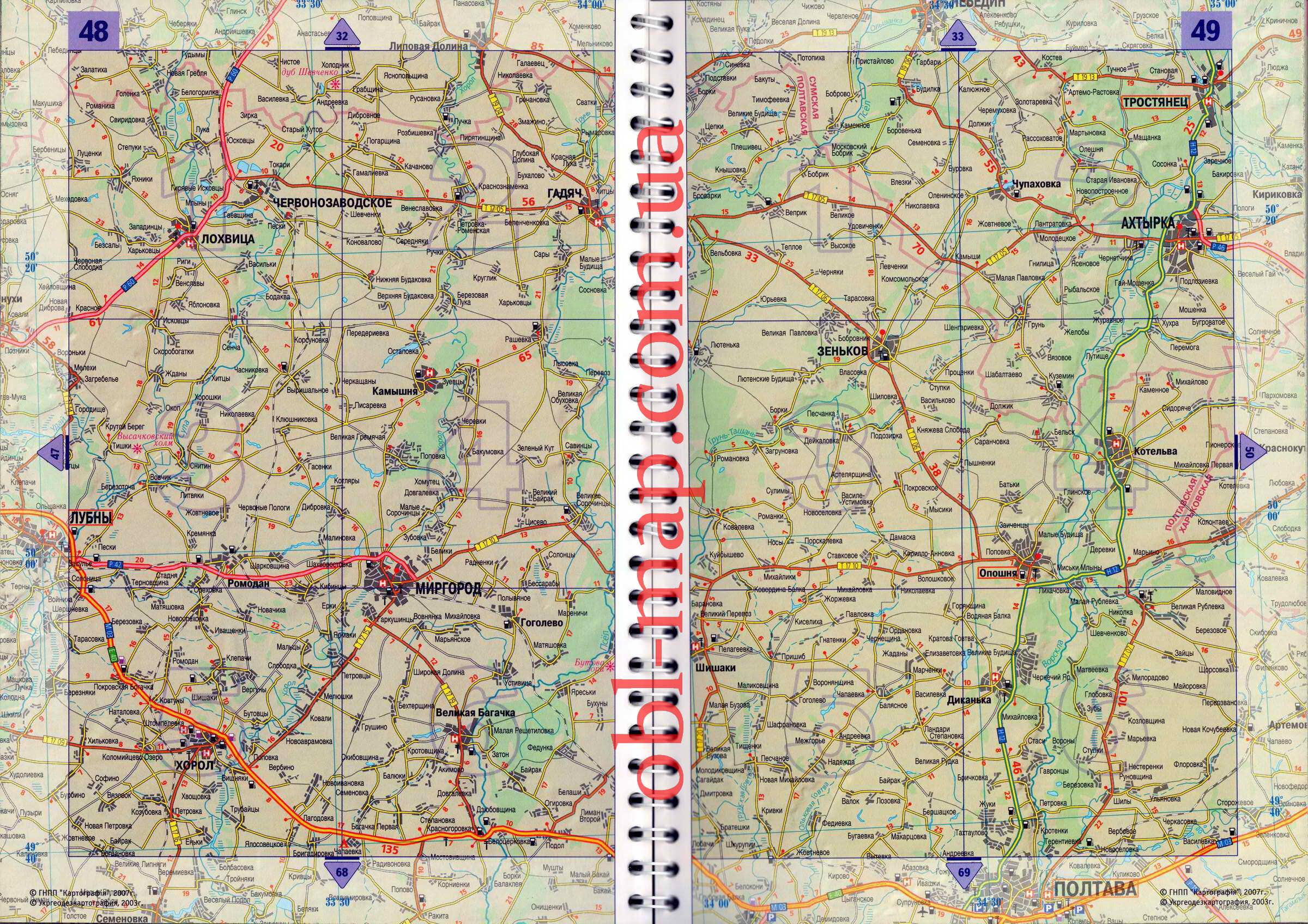 На карте автомобильных дорог украины
